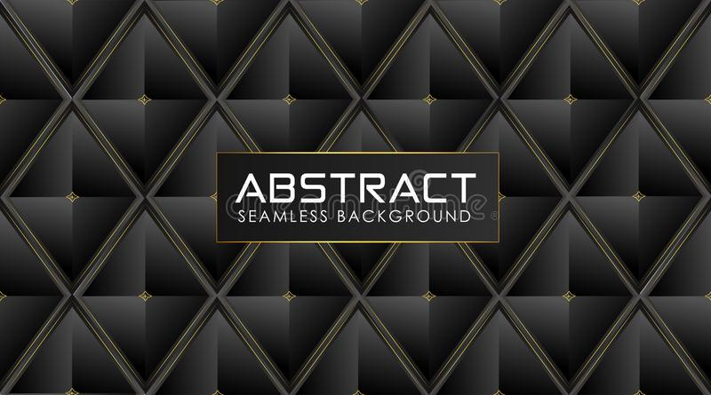 Polygonal dark background with shiny golden abstract lines stock illustration