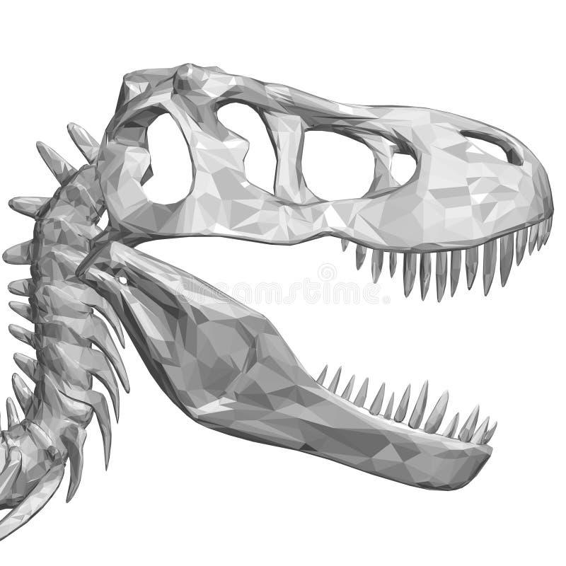 Polygonal dinosaur head. Dinosaur skull with sharp teeth. Side view. 3D. Vector illustration royalty free illustration
