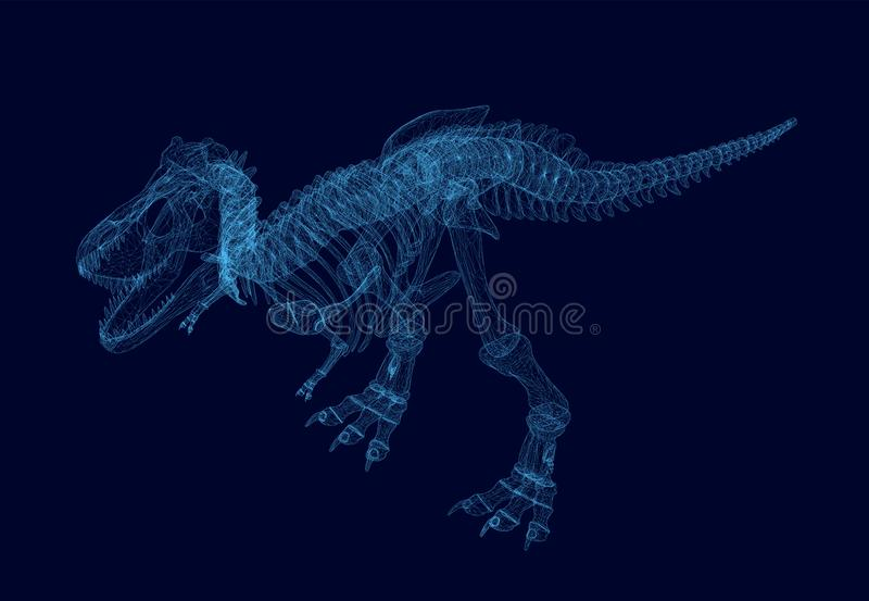 Polygonal dinosaur wireframe. Isometric view. 3D. Vector royalty free illustration