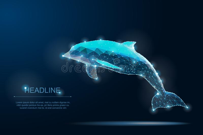 Polygonal dolphin. Save the Planet. Ocean Life. Clean Water. Wildlife. stock images