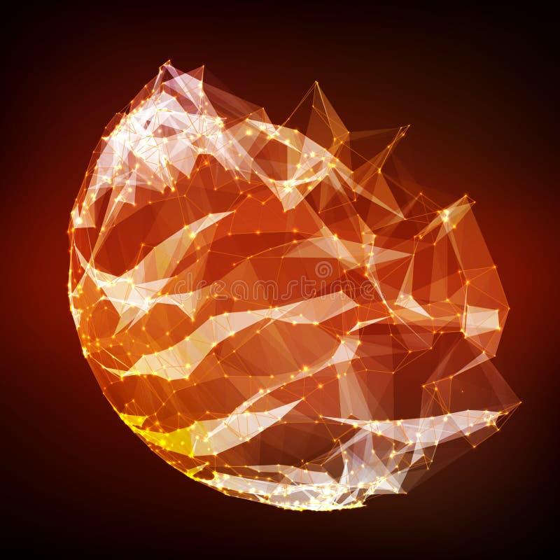 Polygonal fördärvad cybersfär för abstrakt vektor Sfärisk ingreppsbakgrund för triangel vektor illustrationer