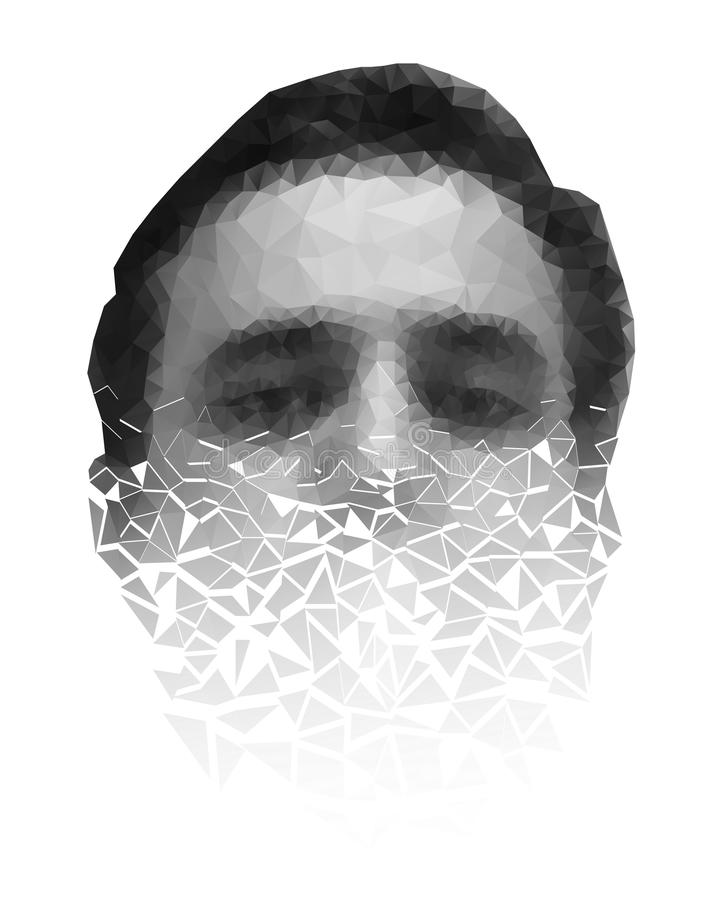 Polygonal face of a man crumbling to pieces. EPS 10 royalty free illustration