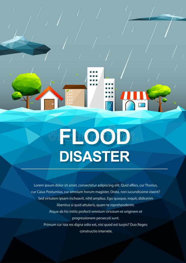 Polygonal flooding in city-Flood Disaster concept. stock illustration