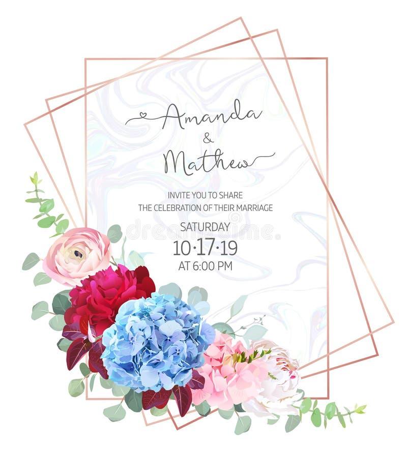 Polygonal floral vector design frame with marble textured backgr stock illustration