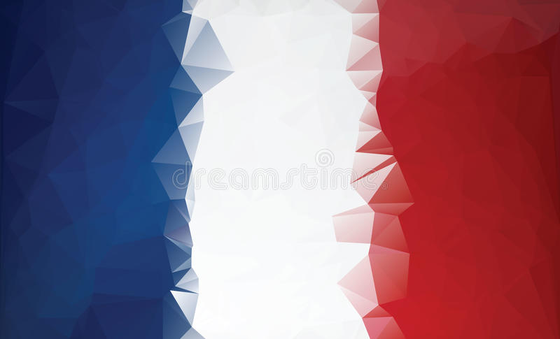 Polygonal France flag. Low poly style royalty free stock image