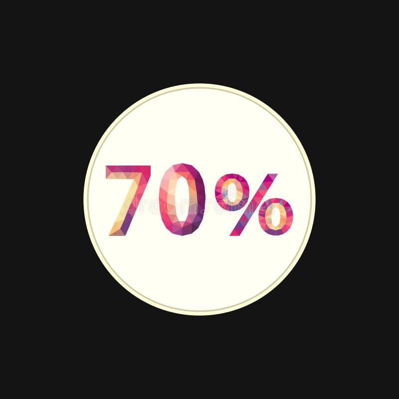 Polygonal full färg 70 sjuttio procent för materiel och rabatter vektor illustrationer
