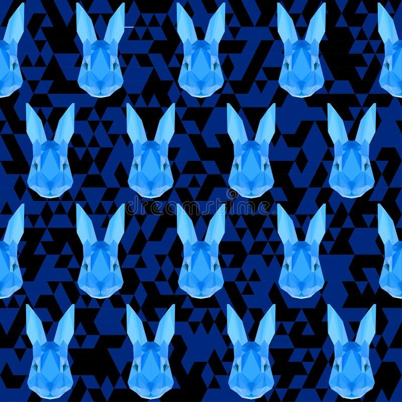 Polygonal geometric abstract rabbit seamless pattern vector back. Polygonal abstract rabbit seamless pattern vector background stock illustration