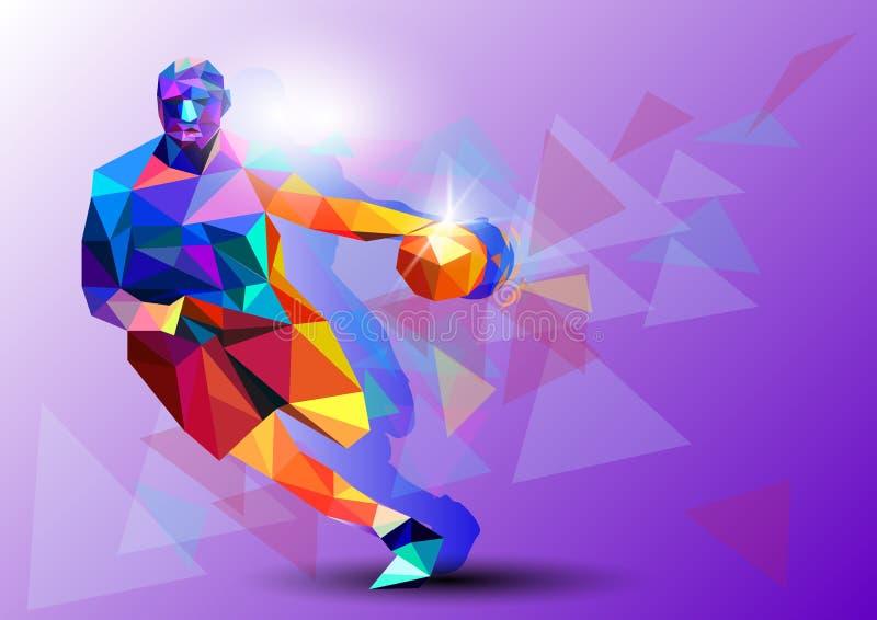 Polygonal geometrisk spelare för yrkesmässig basket på färgglad låg poly backgrounder, rengöring - och - fjant vektor illustrationer