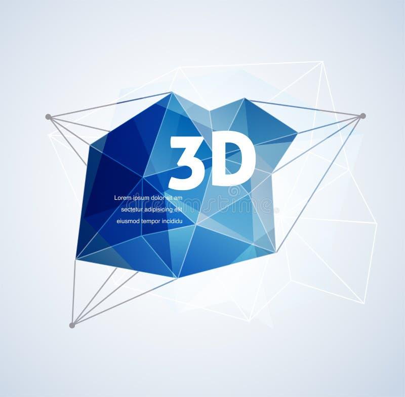 Polygonal geometriskt, printingbakgrund för vektor 3D royaltyfri illustrationer