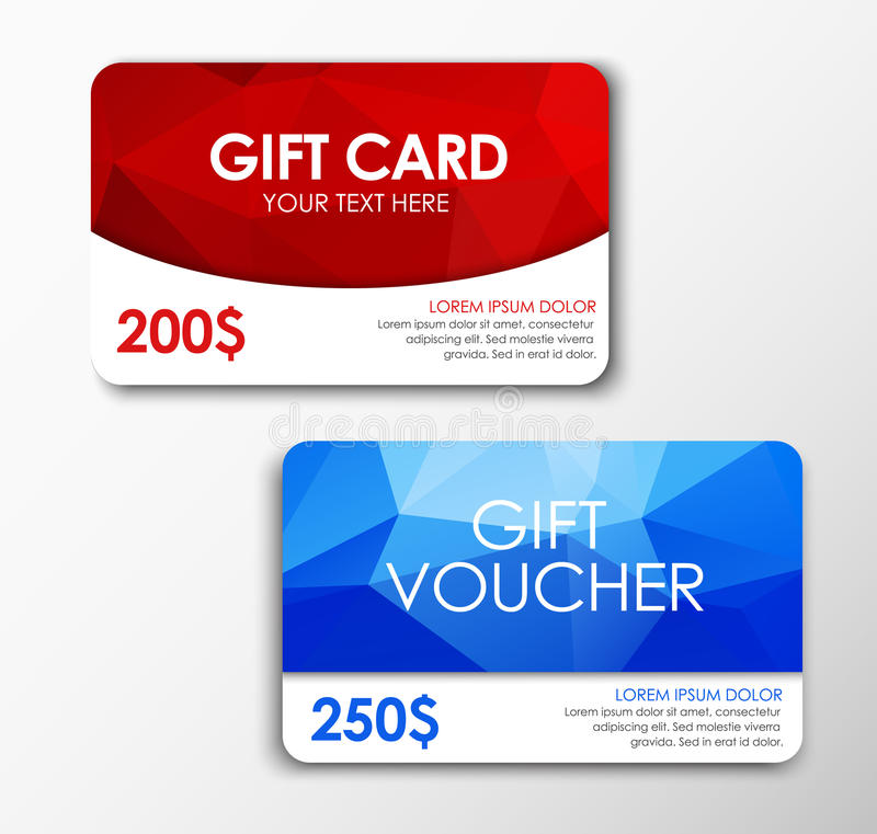 Polygonal gift card and voucher royalty free illustration