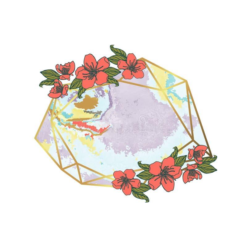 Polygonal girland, geometrisk ram för tappning bakgrund isolerad white stock illustrationer