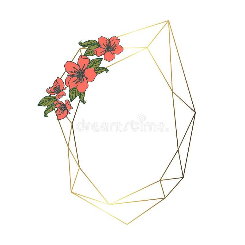 Polygonal girland, geometrisk ram för tappning bakgrund isolerad white royaltyfri illustrationer