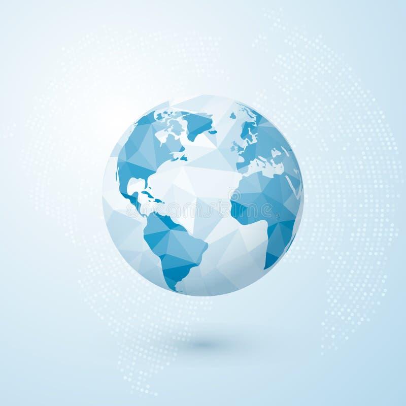 Polygonal globe. World globe map. Creative Earth concept. Vector illustration isolated on blue background royalty free illustration