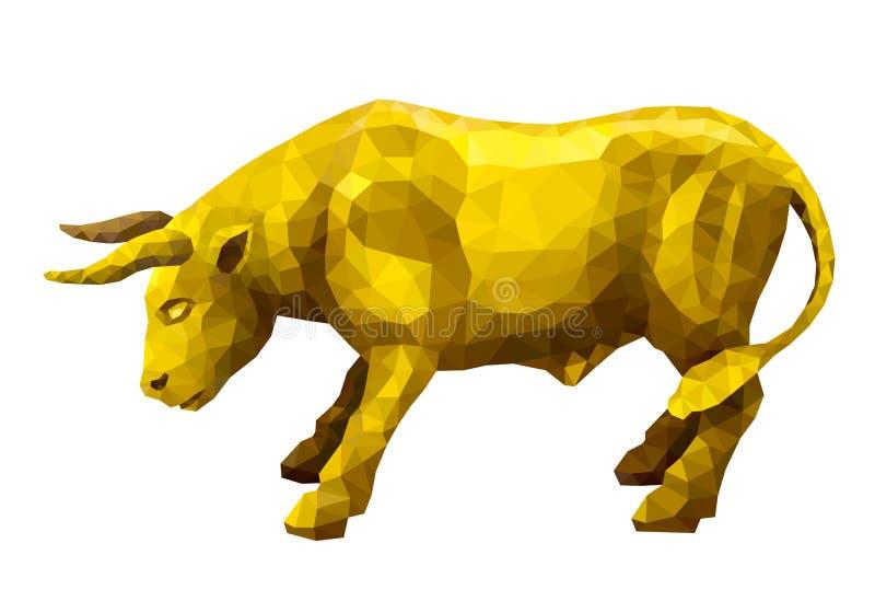 Polygonal golden bull royalty free illustration