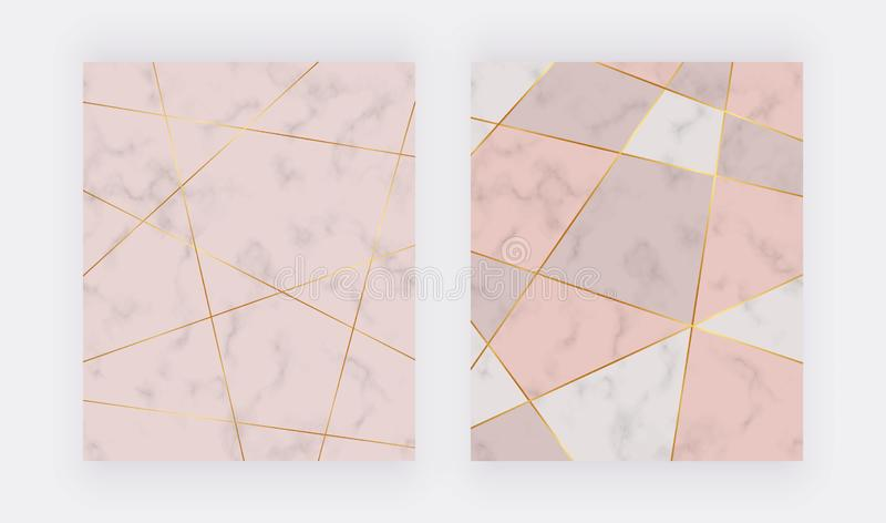 Polygonal golden lines with geometric design on the marble texture. Trendy background for wallpaper, flyer, poster, card, invitati stock photos