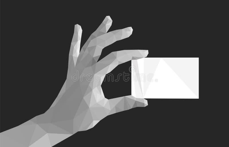 Polygonal hand fingers divorced monochrome keeps business card.  vector illustration