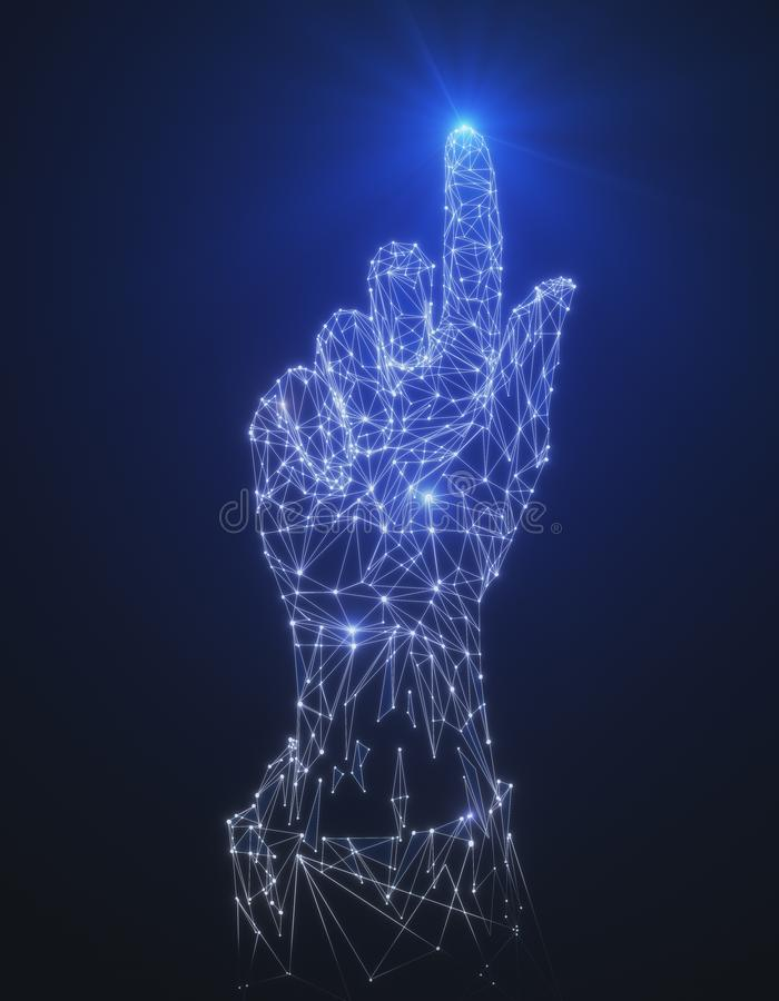 Polygonal hand pointing up. Glowing polygonal hand pointing up on abstract blue background. Forward concept. 3D Rendering royalty free stock photo