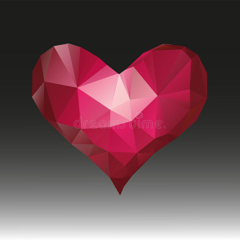 Polygonal heart.Geometrical symbol.Abstract polygonal heart illustration on black background.  royalty free illustration