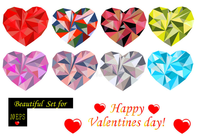 Polygonal hearts set stock illustration