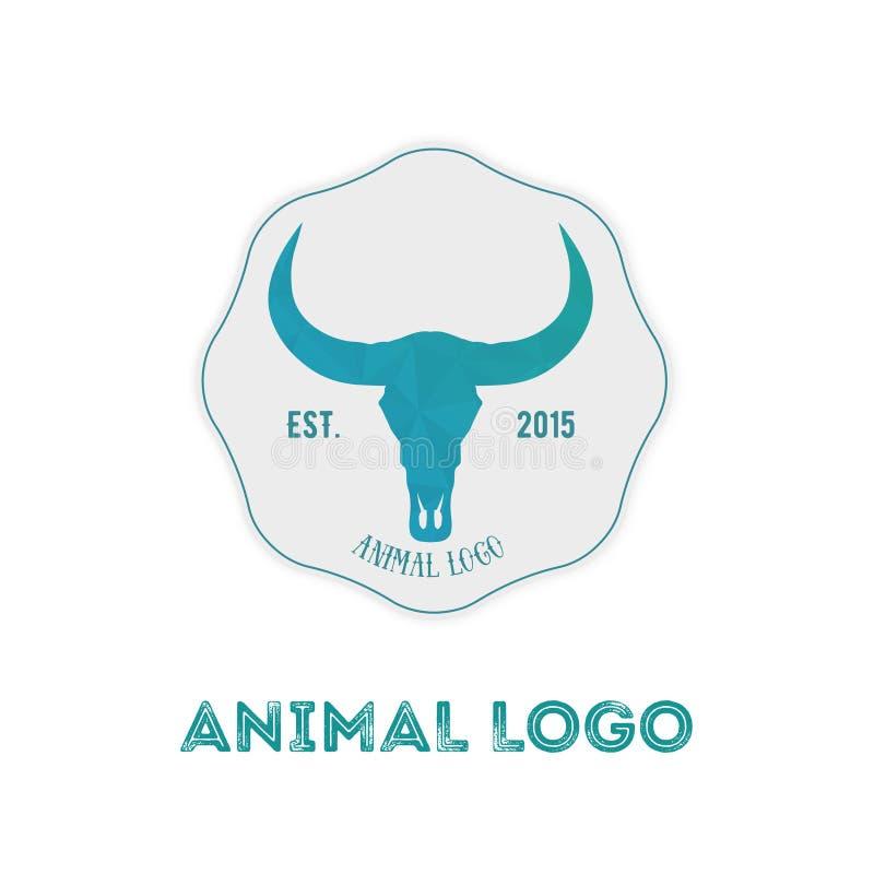 Polygonal hipsterlogo med huvudet av buffeln i mintkaramellfärg med G royaltyfri illustrationer