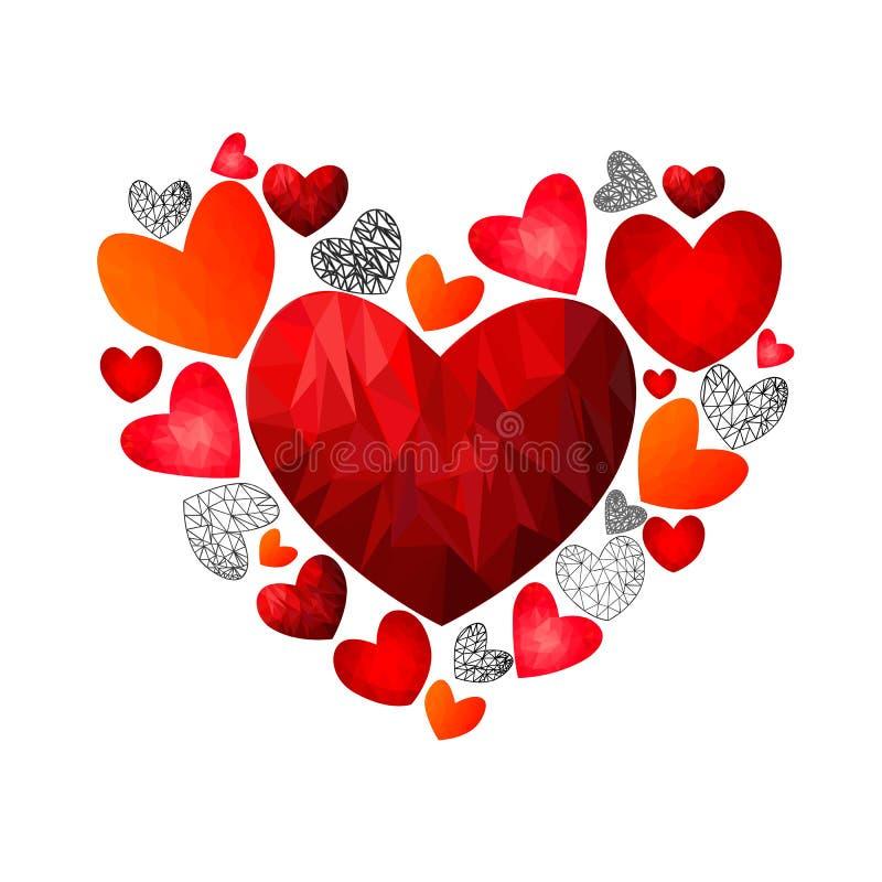 Polygonal hjärtor för romantiker Hjärtor i hjärtan stock illustrationer