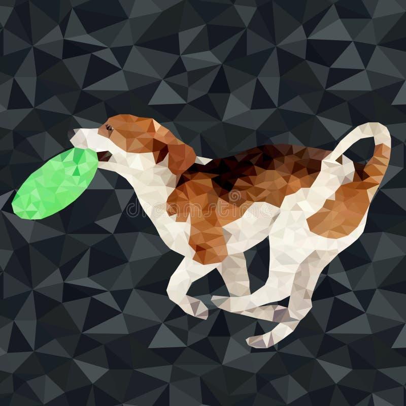 Polygonal hundkapplöpningkonturer för vektor royaltyfri illustrationer