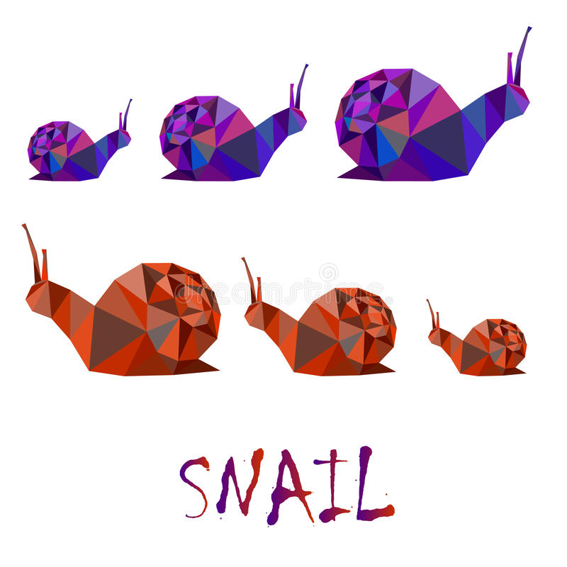 Polygonal illustration för trädgårds- snigel stock illustrationer