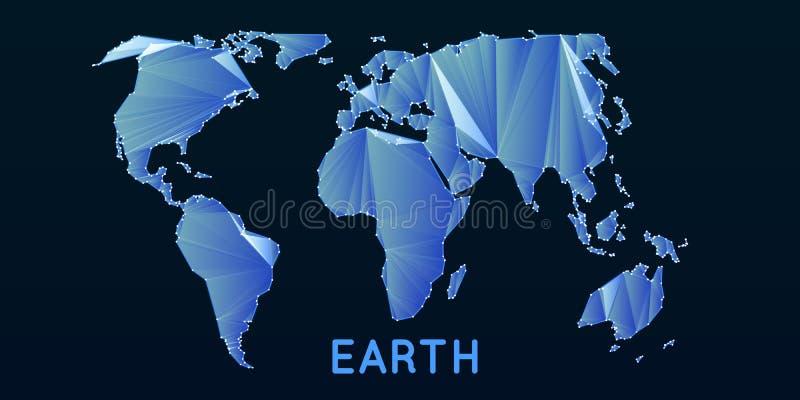 Polygonal ingreppsvärldskarta för abstrakt vektor Triangulated kontinenter Digital översiktsabstraktion i mörker - blått färgar vektor illustrationer