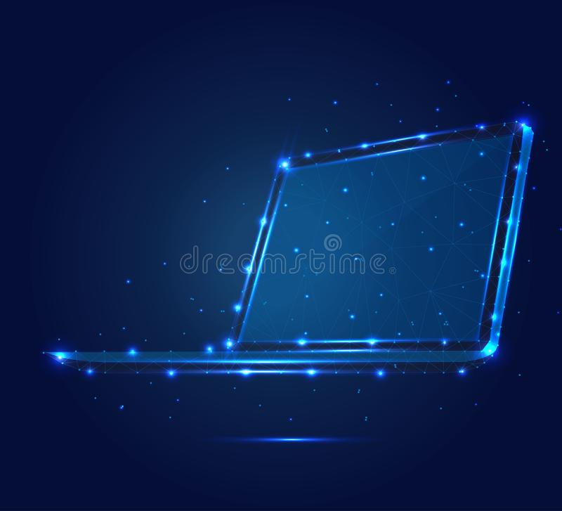 Polygonal isometric μπλε 1 4mp 2 DT lap-top στοκ εικόνα με δικαίωμα ελεύθερης χρήσης