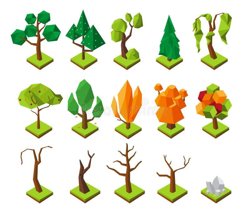 Polygonal isometriska träd Låga poly träd för vektor utan lövverk, sommar 3D och höstskogbeståndsdelar vektor illustrationer