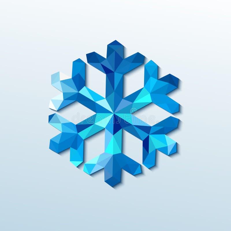 Polygonal julsnöflinga. Vektorillustration stock illustrationer