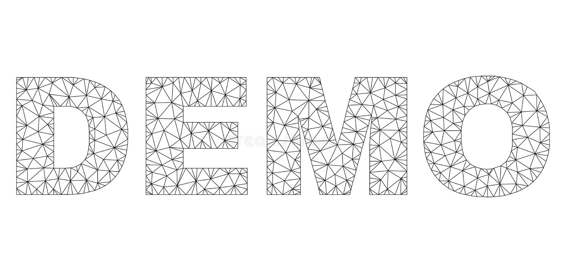 Polygonal kadaver DEMO Text Label royaltyfri illustrationer