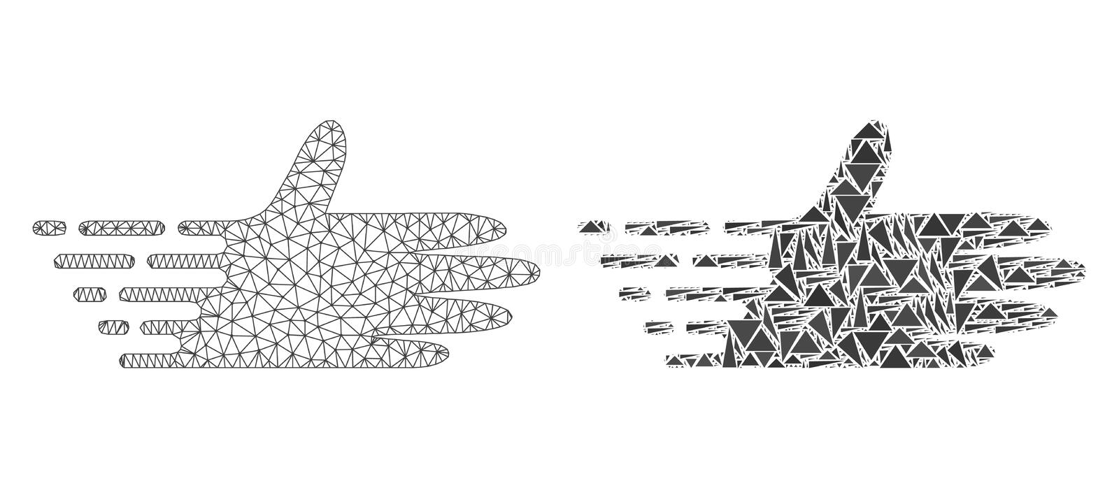 Polygonal kadaver Mesh Moving Hand och mosaisk symbol royaltyfri illustrationer