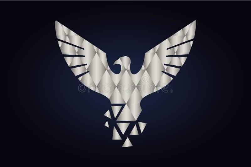 Polygonal kontur av en fågel Försilvra trianglar stock illustrationer