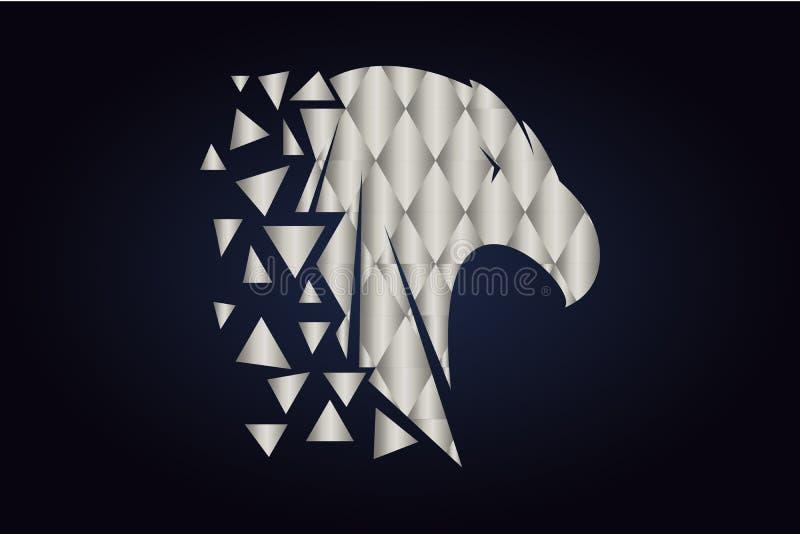 Polygonal kontur av en f?gel F?rsilvra trianglar royaltyfri illustrationer