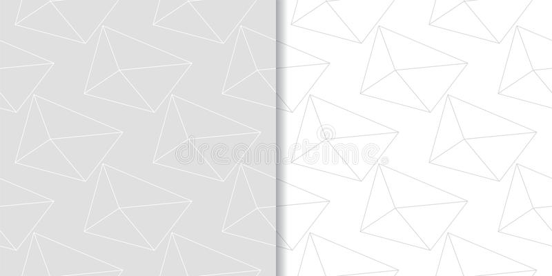Polygonal Light gray geometric ornaments. Set of seamless patterns stock illustration
