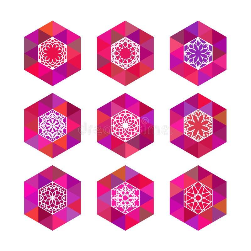 Polygonal logomallar stock illustrationer