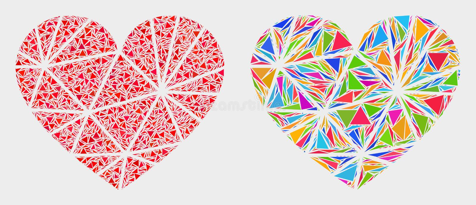 Vector Polygonal Love Heart Mosaic Icon of Triangle Items. Polygonal love heart collage icon of triangle elements which have different sizes and shapes and vector illustration