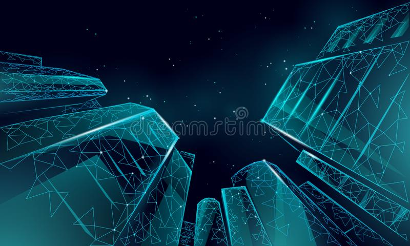Polygonal low angle business modern glass buildings. Skyscrapers high rise reach sky city scenery. Finance banking vector illustration