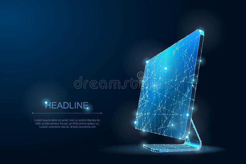 Polygonal Low poly desktop monitor. IT Symbol of digital and Internet. Lines and Dots stock images