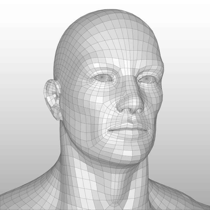 Polygonal mänskligt huvud för vektortrådram royaltyfri illustrationer