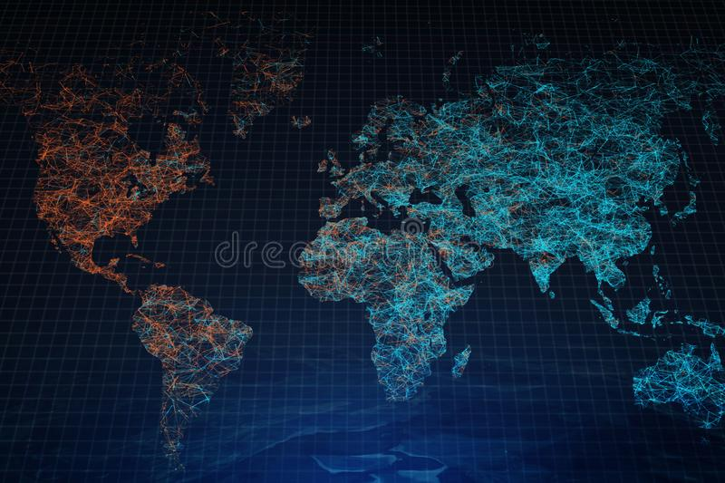 Polygonal map backdrop. Creative polygonal map backdrop. Global business and travel concept. 3D Rendering royalty free stock photography