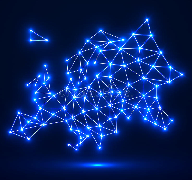 Polygonal map of Europe with glowing dots and lines, network connections royalty free illustration