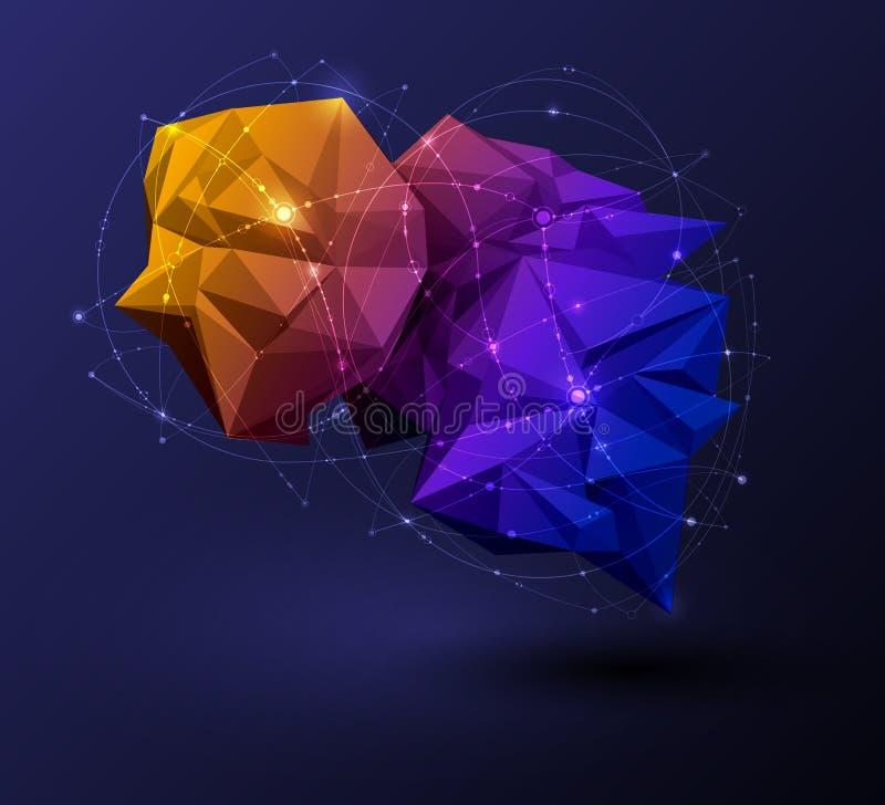Polygonal med blåa lilor, guling på mörker - blå bakgrund Abstrakt vetenskap som är futuristisk, begrepp för nätverksanslutning royaltyfri illustrationer