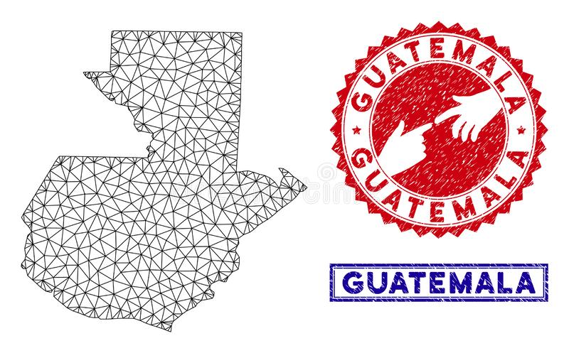 Polygonal Mesh Guatemala Map and Grunge Stamps vector illustration