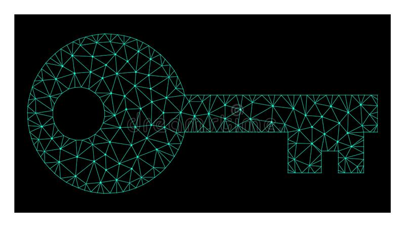 Mesh Key in Polygonal Wire Frame Vector Style vector illustration