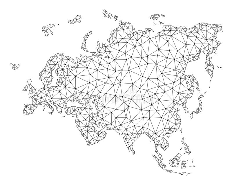 Polygonal Wire Frame Mesh Vector Map of Europe and Asia stock illustration