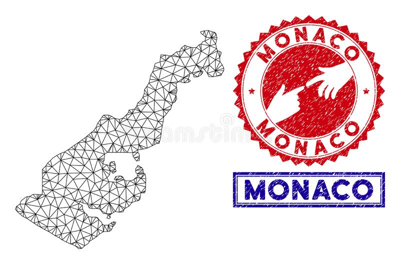 Polygonal Mesh Monaco Map och Grungest?mplar royaltyfri illustrationer