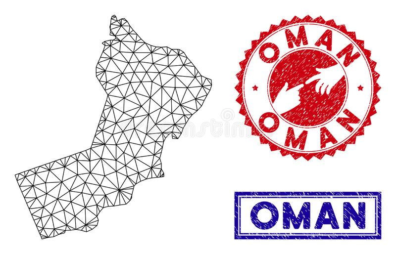 Polygonal Mesh Oman Map and Grunge Stamps stock illustration