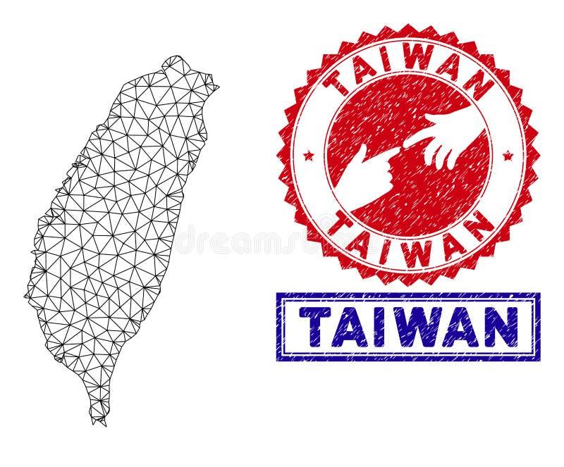 Polygonal Mesh Taiwan Island Map och Grungestämplar stock illustrationer